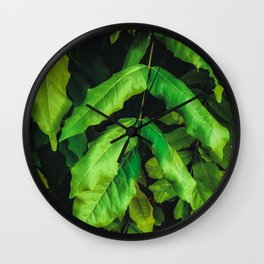 green leaves texture background Wall Clock