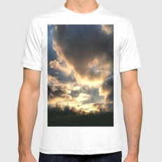 Clouds on Fire White Mens Fitted Tee MEDIUM