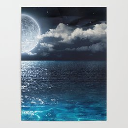 Magnificent Marvelous Bright Full Moon Above Cloudy Sea At Night HD Poster