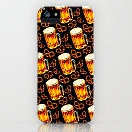 Beer & Pretzel Pattern - Black iPhone Case