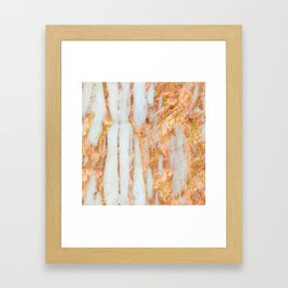 White Alabaster Marble With Flowing Gold-Glitter Veins Framed Art Print