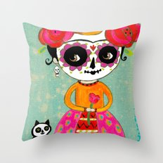 Day Of The Dead Frida with Black Cat Throw Pillow