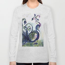 Pink Hearted Peacock watercolor by CheyAnne Sexton Long Sleeve T-shirt