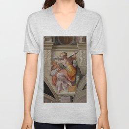 """Michelangelo """"The Libyan Sibyl"""" Unisex V-Neck"""