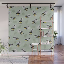 Fantail Bird Pattern Wall Mural