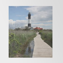 Fire Island Light With Reflection - Long Island Throw Blanket