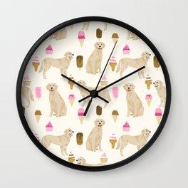 Golden Retriever dog breed pet portrait ice cream custom pet illustration by pet friendly Wall Clock