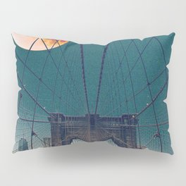 Blood Moon over the Brooklyn Bridge and New York City Skyline Pillow Sham
