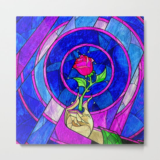 Beauty And The Beast Red Rose Flower Metal Print
