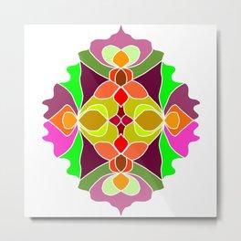 Hand-drawn Henna Mandala Flowers Metal Print