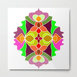 Hand-drawn Henna Mandala Flowers Metal Print