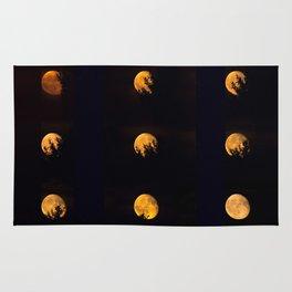 Red blood waning moon Rug