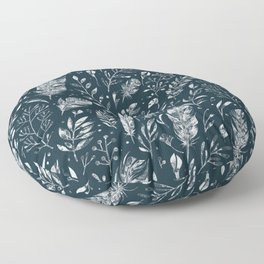 Feathers And Leaves Abstract Pattern Black And White Floor Pillow