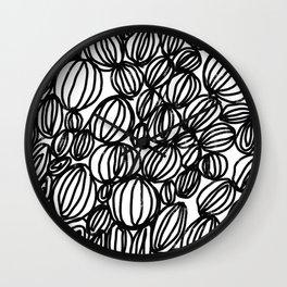 Loop black and white minimalist abstract painting mark making art print Wall Clock