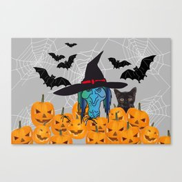 Witch bats pumpkin Halloween Canvas Print