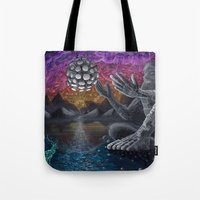 atlas Tote Bags featuring Atlas by Drake Arnold Art