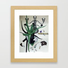 Vanitas still life with aloe plant, crystals and bone knife. Framed Art Print