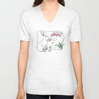 rabbits V-neck T-shirts featuring Rabbits by LyndaParker