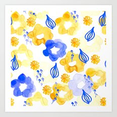 Yellow and Blue Flowers Art Print