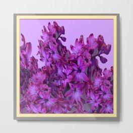 Decorative Purple Lilac Hyacinths Design Pattern Metal Print