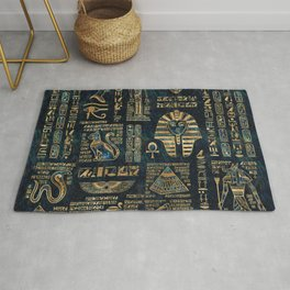 Egyptian hieroglyphs and deities -Abalone and gold Rug