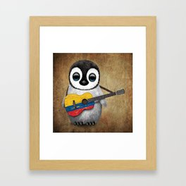 Baby Penguin Playing Colombian Flag Acoustic Guitar Framed Art Print