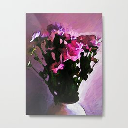 Pink Flowers in a Vase with Light and Shadows Metal Print