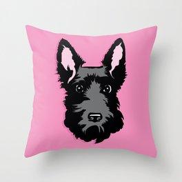 Black Scottie Dog on Pink Background Throw Pillow