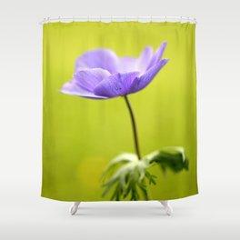 Purple Anemone Natural Green Background Shower Curtain