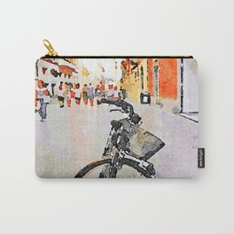 Teramo: parked bicycle and people along the course Carry-All Pouch