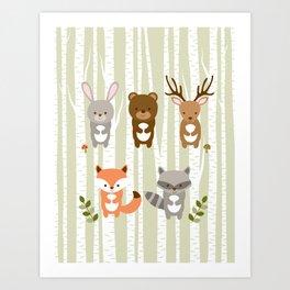Cute Woodland Forest Animals Art Print