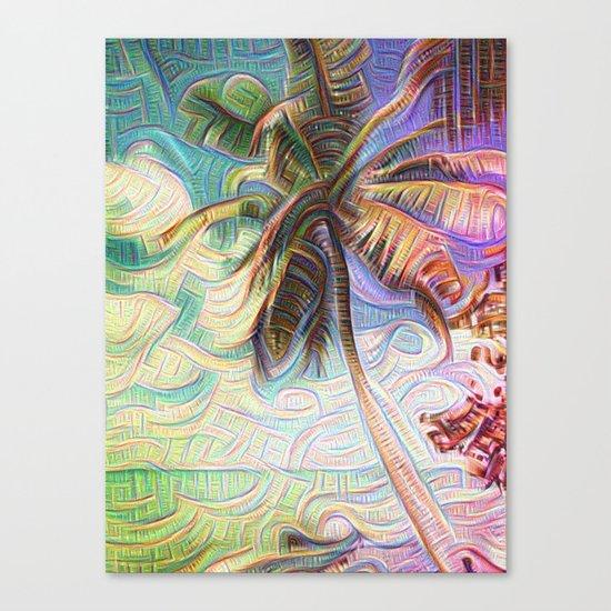 Abstract Rainbow Palm Tree Canvas Print