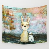 best friend Wall Tapestries featuring My Best Friend, Abstract Landscape Art Painting Rabbit Owl Grunge by Itaya Art