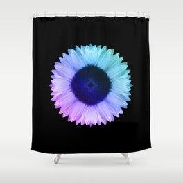 Iridescent Geometric Sunflower Decor \\ Symmetrical Flowers Pink Purple Blue Nature Bohemian Style Shower Curtain