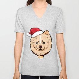 Pomeranian Dog Christmas Hat Present Unisex V-Neck