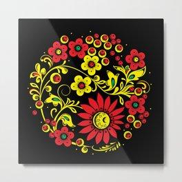Black floral hohloma Metal Print