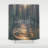 explore Shower Curtains featuring Explore by grafik ' prod