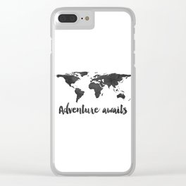 Printable Adventure Awaits World Map Poster, Navy Travel Quote Print, JPG File, Instant Download Clear iPhone Case