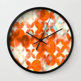 circles, orange art, geometric print, modern painting, mid century art, abstract art Wall Clock