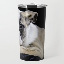 Brindle English Bulldog Puppy Looking Directly at the Camera while Laying on a Plush Black Blanket Travel Mug