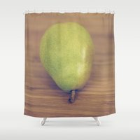 pear Shower Curtains featuring Pear by Jessica Torres Photography