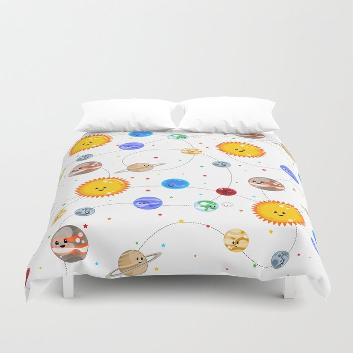 Kawaii Solar System Pattern Duvet Cover