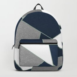 Navy Blue Gray White Mint Geometric Glam #1 #geo #decor #art #society6 Backpack