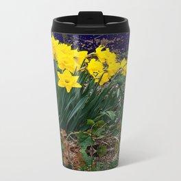 PUCE & YELLOW DAFFODILS WATER REFLECTION PATTERN Travel Mug