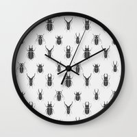 bugs Wall Clocks featuring bugs by  Prokhor Piskarev