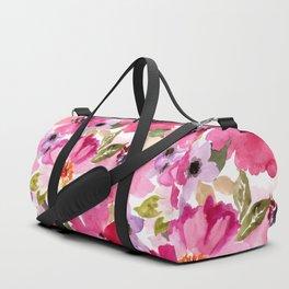 Watercolor Flowers Pink Fuchsia Duffle Bag