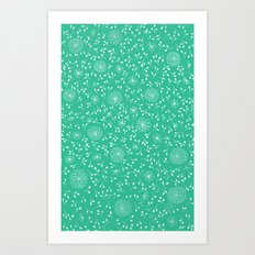 Dahlia Pattern, teal Art Print