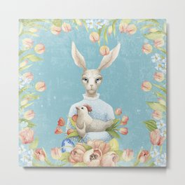 Beautiful Floral Flowers Female Animal Easter Bunny Metal Print