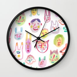 Little Faces Pattern Wall Clock