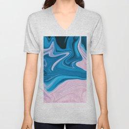 Wavy Pink & Blue (Color) Unisex V-Neck